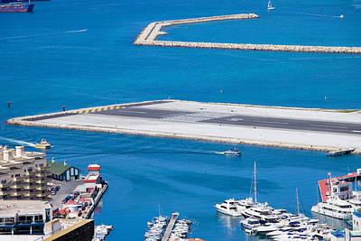 Gibraltar Bay And Airport Runway Poster