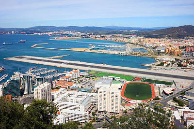 Gibraltar City And Airport Runway Poster