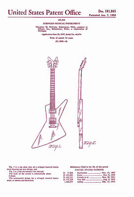 Gibson Explorer Guitar Patent Poster by Georgia Fowler