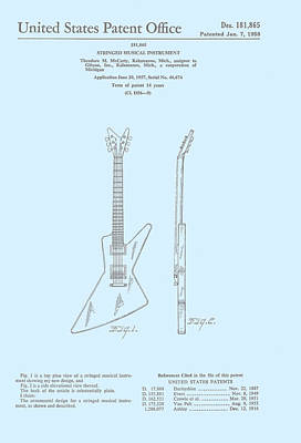 Gibson Explorer  Patent 1958 Poster by Georgia Fowler