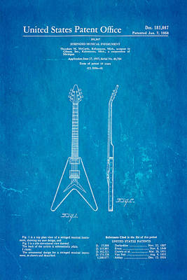 Gibson Flying V Guitar Patent Art 1958 Blueprint Poster by Ian Monk