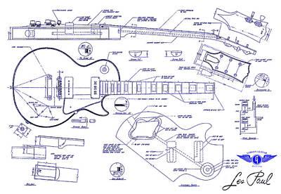 Gibson Les Paul Blueprint Drawing Poster by Jon Neidert