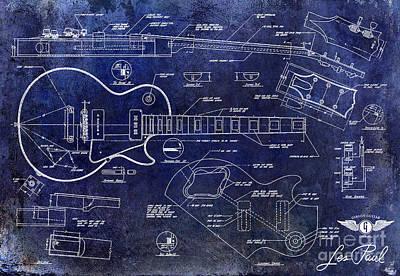 Gibson Les Paul Blueprint Poster by Jon Neidert