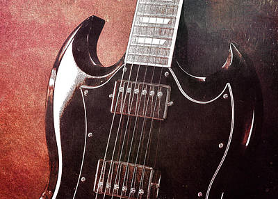 Gibson Sg Standard Red Grunge Poster by John Cardamone