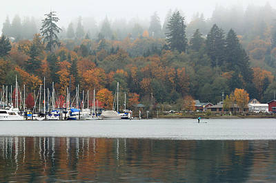 Gig Harbor In The Fog Poster by E Faithe Lester