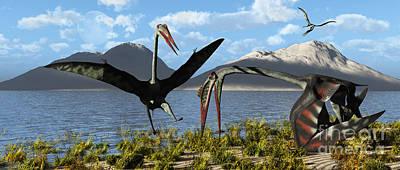 Gigantic Quetzalcoatlus Pterosaurs Poster by Mark Stevenson