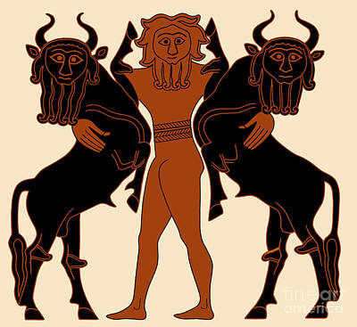 Gilgamesh Subduing Two Bulls Poster by Science Source