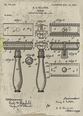 Gillette Razor Patent 1901 Poster by Bill Cannon