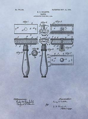 Gillette Razor Patent Poster