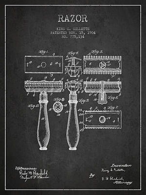 Gillette Razor Patent From 1904 - Dark Poster by Aged Pixel