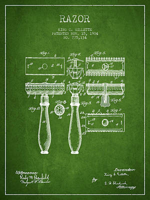 Gillette Razor Patent From 1904 - Green Poster by Aged Pixel