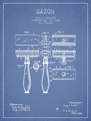 Gillette Razor Patent From 1904 - Light Blue Poster by Aged Pixel