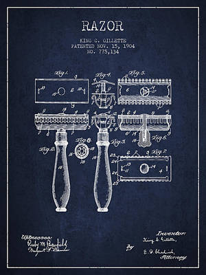 Gillette Razor Patent From 1904 - Navy Blue Poster by Aged Pixel