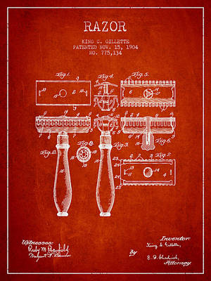 Gillette Razor Patent From 1904 - Red Poster by Aged Pixel
