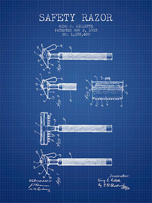 Gillette Safety Razor Patent Drawing From 1915 - Blueprint Poster by Aged Pixel