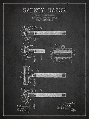 Gillette Safety Razor Patent Drawing From 1915 - Dark Poster by Aged Pixel