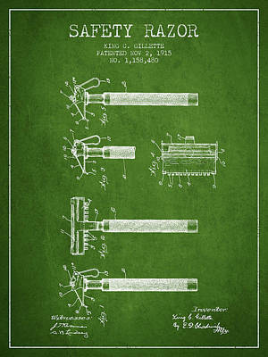 Gillette Safety Razor Patent Drawing From 1915 - Green Poster by Aged Pixel