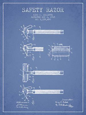 Gillette Safety Razor Patent Drawing From 1915 - Light Blue Poster by Aged Pixel
