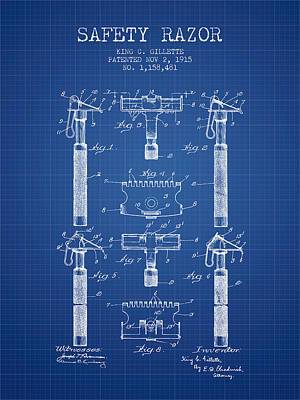 Gillette Safety Razor Patent From 1915 - Blueprint Poster by Aged Pixel