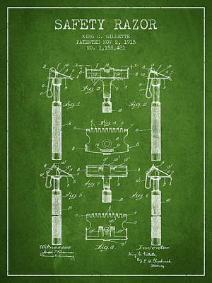 Gillette Safety Razor Patent From 1915 - Green Poster by Aged Pixel