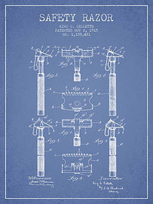 Gillette Safety Razor Patent From 1915 - Light Blue Poster by Aged Pixel