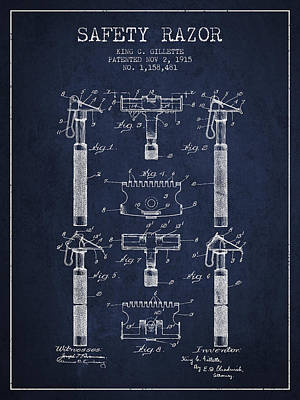 Gillette Safety Razor Patent From 1915 - Navy Blue Poster by Aged Pixel