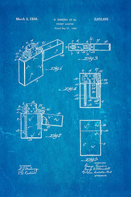 Gimera Zippo Lighter Patent Art 1934 Blueprint Poster by Ian Monk