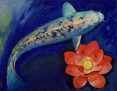 Gin Matsuba Koi And Lotus Poster by Michael Creese