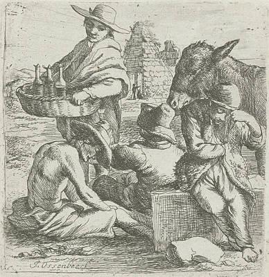 Gin Seller And The Three Beggars, Jan Van Ossenbeeck Poster by Jan Van Ossenbeeck