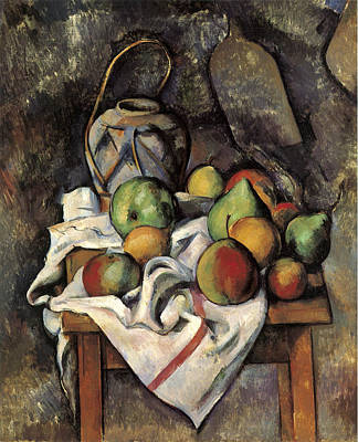 Ginger Jar And Fruit Poster by Paul Cezanne