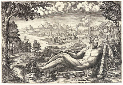 Giorgio Ghisi Italian, 1520 - 1582. Hercules Reposing Poster by Litz Collection