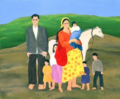 Gipsy Family, 1986 Oil On Canvas Poster by Magdolna Ban