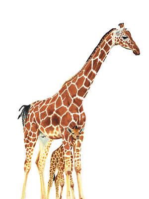 Giraffe Art - A Mother's Love - By Sharon Cummings Poster by Sharon Cummings