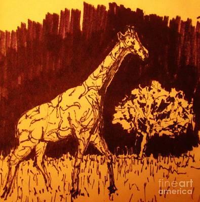 Giraffe  In Habitat Poster by John Malone