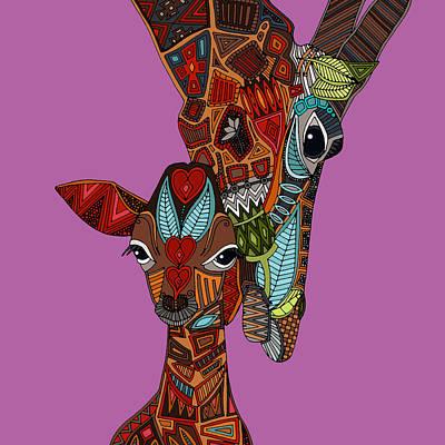 Giraffe Love Orchid Poster