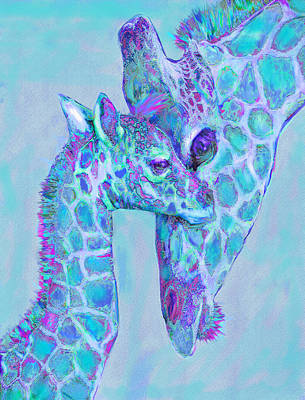 Poster featuring the digital art Giraffe Shades  Purple And Aqua by Jane Schnetlage