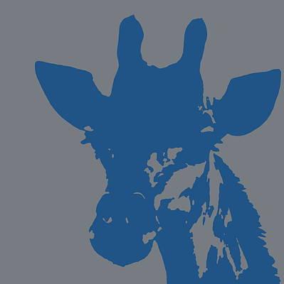 Giraffe Silhouette Grey Blue Poster