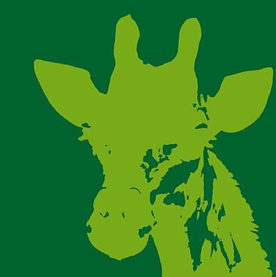 Giraffe Silhouette Lime Green Poster
