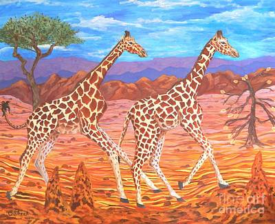 Giraffe's Courting Poster by Caroline Street