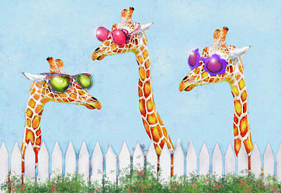 Poster featuring the digital art Giraffes In Sunglasses by Jane Schnetlage