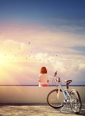 Girl And Bicycle Poster by Carlos Caetano