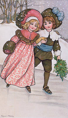 Girl And Boy Skating Poster by Florence Hardy