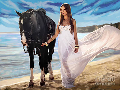 Poster featuring the painting Girl And Horse On Beach by Tim Gilliland