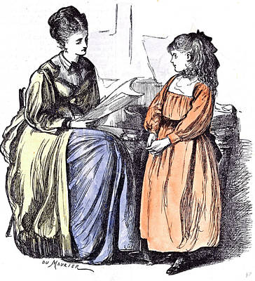 Girl And New Governess Du Maurier 1874 Britain Practice Poster by English School