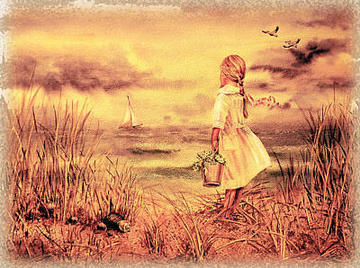 Girl And The Ocean Vintage Art Poster