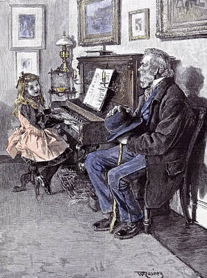 Girl At The Piano In 1891 Grandfather Old Man Hat Walking Poster by English School