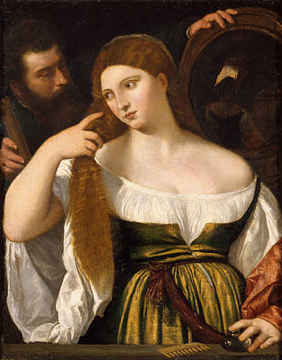 Girl Before The Mirror Poster by Titian and Workshop