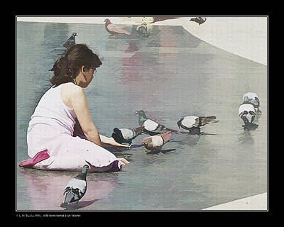 Girl Feeding Pigeons Poster by Pedro L Gili