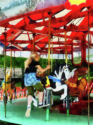 Girl Getting On Merry-go-round Poster