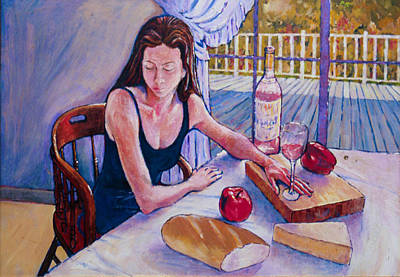 Girl Having Lunch At Montlake Poster by Herschel Pollard